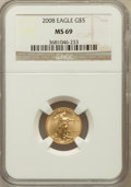 Modern Bullion Coins, 2008 G$5 Gold Eagle 1/10 Oz MS69 NGC. NGC Census: (1129/1167). PCGSPopulation (229/60). Numismedia Wsl. Price for problem...