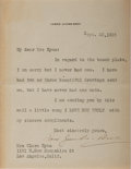 """Autographs:Celebrities, American Singer/Songwriter Carrie Jacobs-Bond (1862-1946) TypedLetter Signed """"Carrie Jacobs-Bond"""". One page, 4.5"""" x 5.7..."""