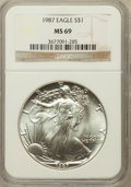 Modern Bullion Coins, 1987 $1 One Ounce Silver Eagle MS69 NGC. NGC Census: (87279/361).PCGS Population (6793/10). Mintage: 11,442,335. Numismedi...