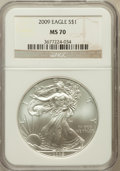 Modern Bullion Coins, 2009 $1 Silver Eagle MS70 NGC. NGC Census: (4591). PCGS Population(20744). Numismedia Wsl. Price for problem free NGC/PCG...