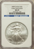 Modern Bullion Coins, 2009 $1 One Ounces Silver Eagle Early Releases MS69 NGC. NGCCensus: (111791/8808). PCGS Population (111070/19515)....