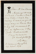 """Autographs:Authors, English Poet and Diplomat Owen Meredith, the Earl of Lytton Autograph Letter Signed """"Lytton"""". One page, 3.75"""" x 6"""", on h..."""