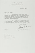 "Autographs:Authors, American Author James Michener Typed Letter Signed ""James A.Michener"". One page, 6"" x 9"", on his personal letterhead, P..."