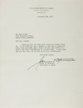"Autographs:Statesmen, Secretary of Labor James P. Mitchell Typed Letter Signed ""JamesP. Mitchell"". One page, 8"" x 10.5"", on U.S. Department o..."