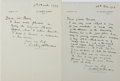 """Autographs:Authors, Two Autograph Letters Written by English Novelist Sir Anthony HopeHawkins. One page each, 5.25"""" x 7"""", on his personal lette...(Total: 2 Items)"""