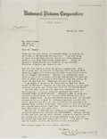 """Autographs:Celebrities, President of Universal Pictures Corporation Carl Laemmle TypedLetter Signed """"Carl Laemmle"""". One page, 8.5"""" x 11"""", on Un..."""