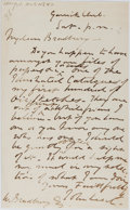 "Autographs:Authors, English Illustrator John Leech 1817-1864) Autograph Letter Signed""J Leech"". One page, 4.5"" x 7.5"", Garrick Club, [n.d.]..."