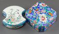 Ceramics & Porcelain, Continental:Modern  (1900 1949)  , TWO LONGWY POTTERY COVERED BOXES. Early 20th century. Marks: LONGWY, KENILWORTH STUDIOS, FRANCE, D. 792. 2-1/4 inches hi... (Total: 2 Items)