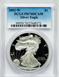 Modern Bullion Coins, 2002-W $1 One Ounce Silver Eagle PR70 Deep Cameo PCGS. PCGSPopulation (1478). NGC Census: (3647). Numismedia Wsl. Price f...