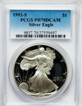 Modern Bullion Coins, 1992-S $1 One Ounce Silver Eagle PR70 Deep Cameo PCGS. PCGS Population (557). NGC Census: (776). Mintage: 498,654. Numismed...