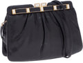 Luxury Accessories:Bags, Judith Leiber Black Snakeskin Frame Closure Clutch Bag withShoulder Strap. ...