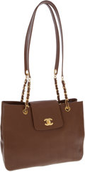 Luxury Accessories:Bags, Chanel Light Brown Caviar Leather Large Shoulder Bag. ...