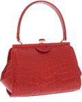 Luxury Accessories:Bags, Locati Italy Centennial Numbered Edition Shiny Red Alligator SmallTote Bag . ...