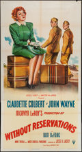"""Movie Posters:Comedy, Without Reservations (RKO, 1946). Three Sheet (41"""" X 80""""). Comedy.. ..."""