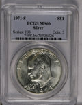 Eisenhower Dollars: , 1971-S $1 Silver MS66 PCGS. PCGS Population (1361/207). NGC Census: (579/63). Mintage: 2,600,000. Numismedia Wsl. Price: $3...