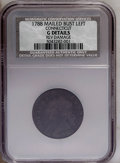1788 COPPER Connecticut Copper, Mailed Bust Left--Reverse Damage--NCS. Good Details. NGC Census: (0/0). PCGS Population...