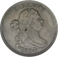 Half Cents: , 1804 1/2 C Spiked Chin--Cleaned--ANACS. AU50 Details. C-6. (#1075)...