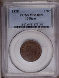 Half Cents: , 1828 1/2 C 13 Stars MS63 Brown PCGS. PCGS Population (73/61). NGC Census: (96/97). Mintage: 606,000. Numismedia Wsl. Price:...