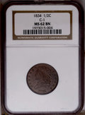 1834 1/2 C MS62 Brown NGC. C-1.NGC Census: (42/143). PCGS Population (25/116). Mintage: 141,000. Numismedia Wsl. Price:...