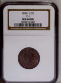 1854 1/2 C MS64 Brown NGC. C-1. NGC Census: (91/49). PCGS Population (45/9). Mintage: 55,358. Numismedia Wsl. Price: $36...