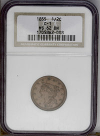 1855 1/2 C MS62 Brown NGC. C-1. NGC Census: (63/313). PCGS Population (49/215). Mintage: 56,500. Numismedia Wsl. Price:...