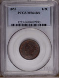 1855 1/2 C MS64 Brown PCGS. PCGS Population (81/30). NGC Census: (152/77). Mintage: 56,500. Numismedia Wsl. Price: $452...