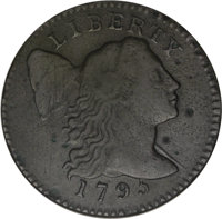 1795 1C Lettered Edge--Scratched--ANACS. Fine 12 Details. NGC Census: (1/36). PCGS Population (2/51). Mintage: 37,000. N...