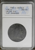 Large Cents: , 1796 1C Liberty Cap--Clip, Damaged-- ANACS. Fine 12 Details. S-91. NGC Census: (9/82). PCGS Population (8/71). Mintage: 109...