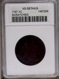1797 1C Reverse of 1797, Stems--Scratched-- ANACS. VG Details. NGC Census: (7/122). PCGS Population (6/137). Mintage: 89...