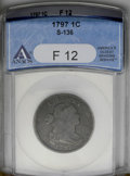 Large Cents: , 1797 1C Reverse of 1797, Stems F12 ANACS. S-136. NGC Census: (6/109). PCGS Population (10/123). Mintage: 897,510. Numismedi...