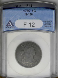 1797 1C Reverse of 1797, Stems F12 ANACS. S-136. NGC Census: (6/109). PCGS Population (10/123). Mintage: 897,510. Numism...