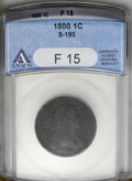 Large Cents: , 1800/1798 1C F15 ANACS. S-190. NGC Census: (0/7). PCGS Population (2/4). Mintage: 2,822,175. Numismedia Wsl. Price: $733. (...