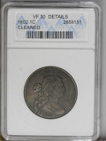 Large Cents: , 1802 1C --Cleaned-- ANACS. VF30 Details. NGC Census: (60/182). PCGS Population (24/142). Mintage: 3,435,100. Numismedia Wsl....