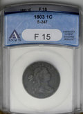 Large Cents: , 1803 1C Small Date, Small Fraction F15 ANACS. S-247. NGC Census: (16/343). PCGS Population (19/242). Mintage: 3,131,691. Nu...