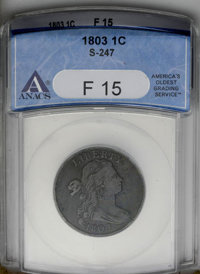 1803 1C Small Date, Small Fraction F15 ANACS. S-247. NGC Census: (16/343). PCGS Population (19/242). Mintage: 3,131,691...