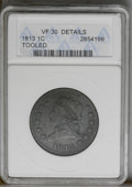 Large Cents: , 1813 1C --Tooled--ANACS. VF30 Details. NGC Census: (18/83). PCGS Population (10/80). Mintage: 418,000. Numismedia Wsl. Price...