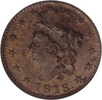 1818 1C MS63 Red and Brown NGC. N-10. NGC Census: (61/51). PCGS Population (110/40). Mintage: 3,167,000. Numismedia Wsl...