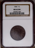1846 1C Small Date MS62 Brown NGC. NGC Census: (53/142). PCGS Population (13/49). Mintage: 4,120,800. Numismedia Wsl. Pr...
