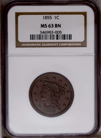 1855 1C Upright 5s MS63 Brown NGC. NGC Census: (63/263). PCGS Population (61/117). Mintage: 1,574,829. Numismedia Wsl. P...