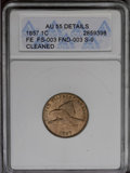 Flying Eagle Cents: , 1857 1C --Cleaned--ANACS. AU55 Details. FS-003, FND-003, S-9.NGC Census: (37/1770). PCGS Population (86/2124). Mintage: 17,4...