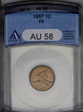 Flying Eagle Cents: , 1857 1C AU58 ANACS. NGC Census: (81/1689). PCGS Population (136/1988). Mintage: 17,450,000. Numismedia Wsl. Price: $172. (#...