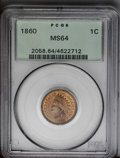 Indian Cents: , 1860 1C MS64 PCGS. PCGS Population (346/174). NGC Census: (310/163). Mintage: 20,566,000. Numismedia Wsl. Price: $320. (#20...