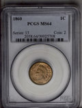 Indian Cents: , 1860 1C MS64 PCGS. PCGS Population (347/174). NGC Census: (311/163). Mintage: 20,566,000. Numismedia Wsl. Price: $320. (#20...