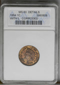 1864 1C L On Ribbon Brown--Corroded--ANACS. MS60 Details. NGC Census: (1/214). PCGS Population (6/111). Mintage: 39,233...