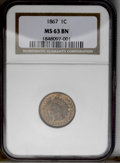 1867 1C MS63 Brown NGC. NGC Census: (38/89). PCGS Population (29/20). Mintage: 9,821,000. Numismedia Wsl. Price: $240. (...