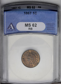 1867 1C MS62 Red and Brown ANACS. NGC Census: (4/284). PCGS Population (18/297). Mintage: 9,821,000. Numismedia Wsl. Pri...