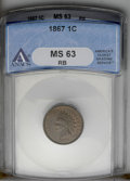 Indian Cents: , 1867 1C MS63 Red and Brown ANACS. NGC Census: (37/247). PCGS Population (88/209). Mintage: 9,821,000. Numismedia Wsl. Price...