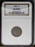 Indian Cents: , 1868 1C AU58 NGC. NGC Census: (14/132). PCGS Population (18/71). Mintage: 10,266,500. Numismedia Wsl. Price: $179. (#2091)...