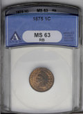 Indian Cents: , 1875 1C MS63 Red and Brown ANACS. NGC Census: (35/279). PCGS Population (94/231). Mintage: 13,528,000. Numismedia Wsl. Pric...