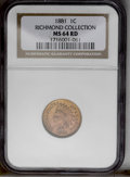 1881 1C MS64 Red NGC. NGC Census: (38/41). PCGS Population (76/88). Mintage: 39,211,576. Numismedia Wsl. Price: $252. (#...